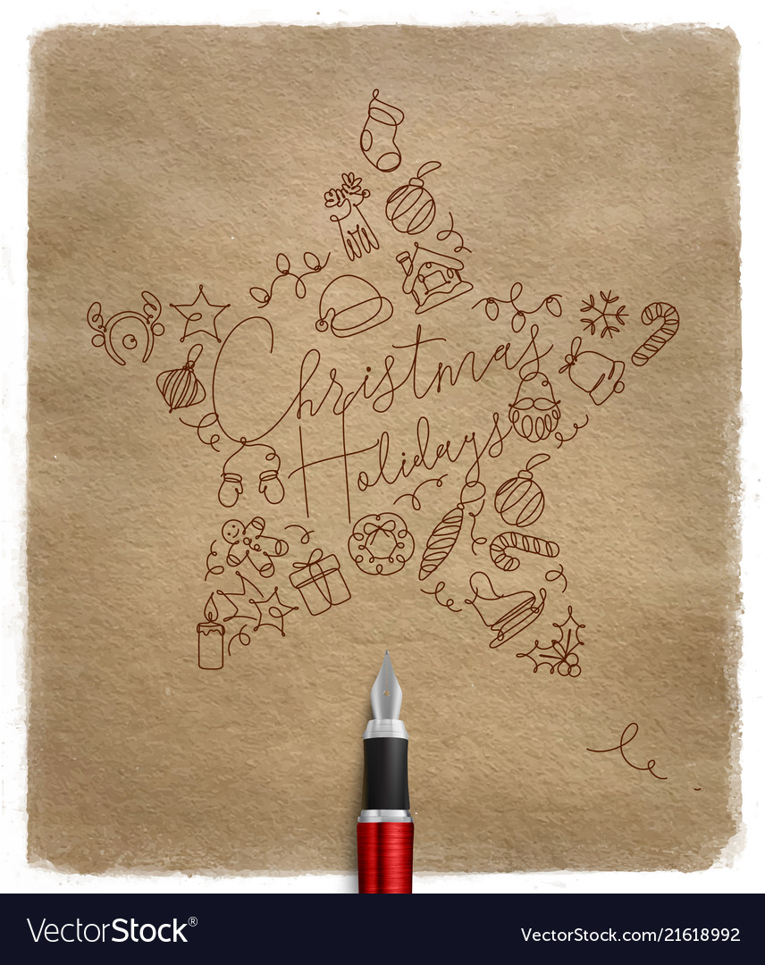 Pen line drawing christmas tree toy star craft