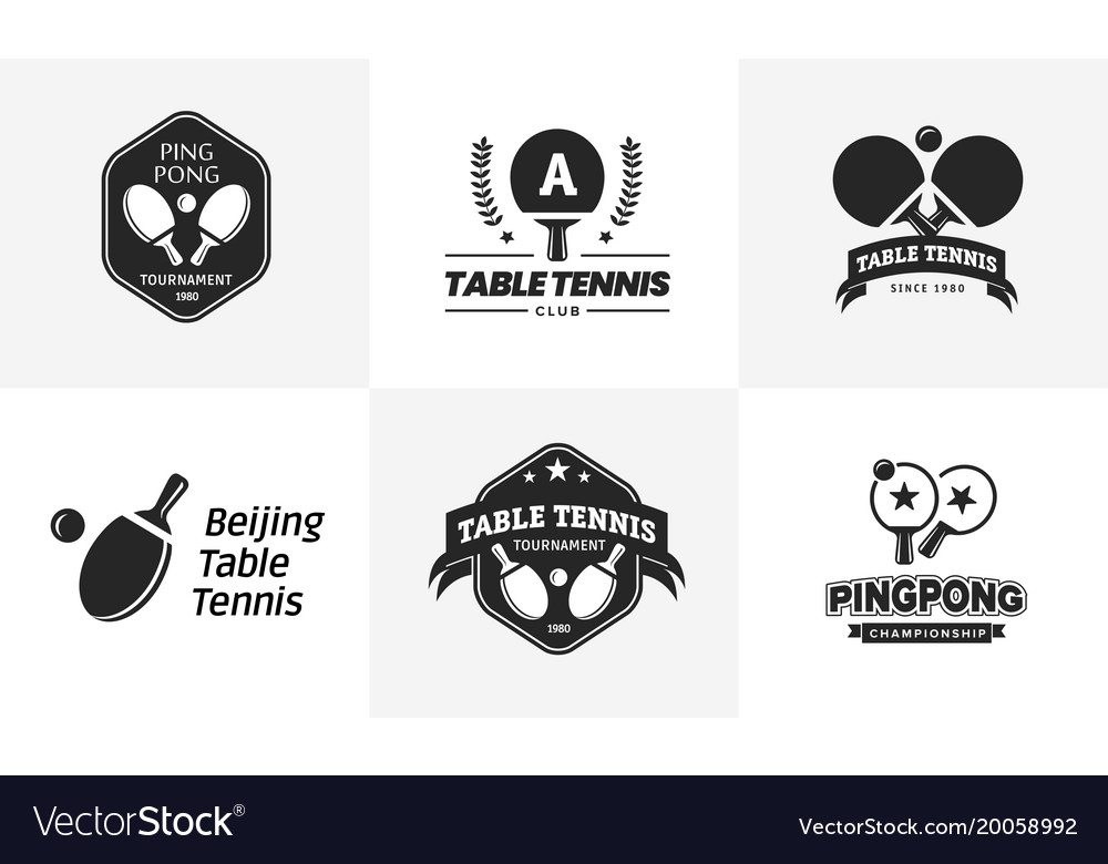 Set of vintage table tennis logos and badges