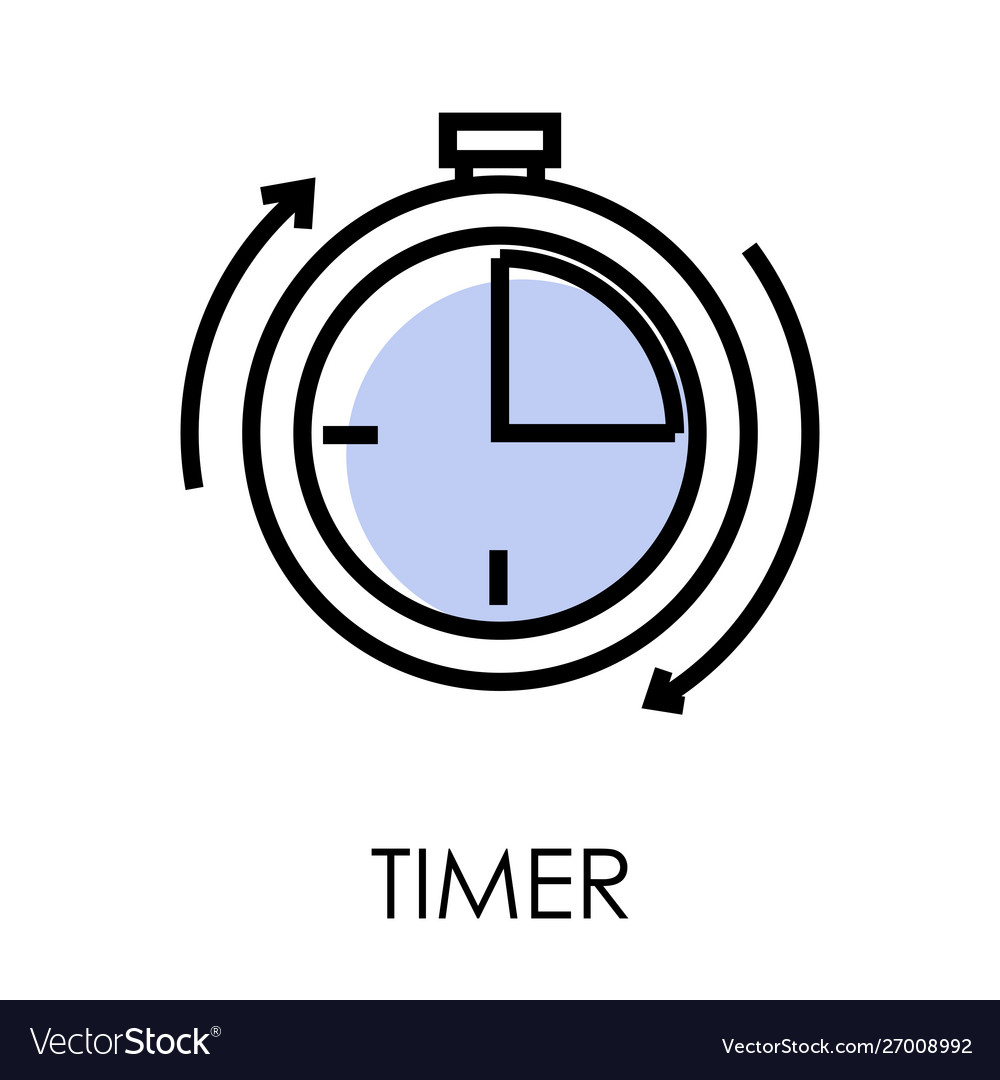 Stopwatch or timer clock isolated outline icon