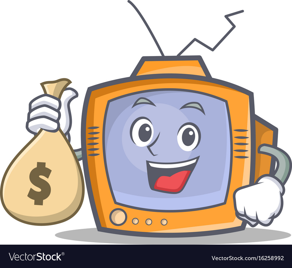 Tv character cartoon object with money bag
