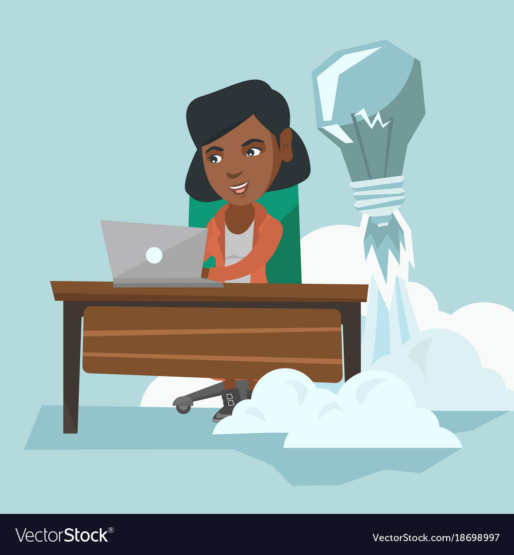 African manager working on a new business idea vector image