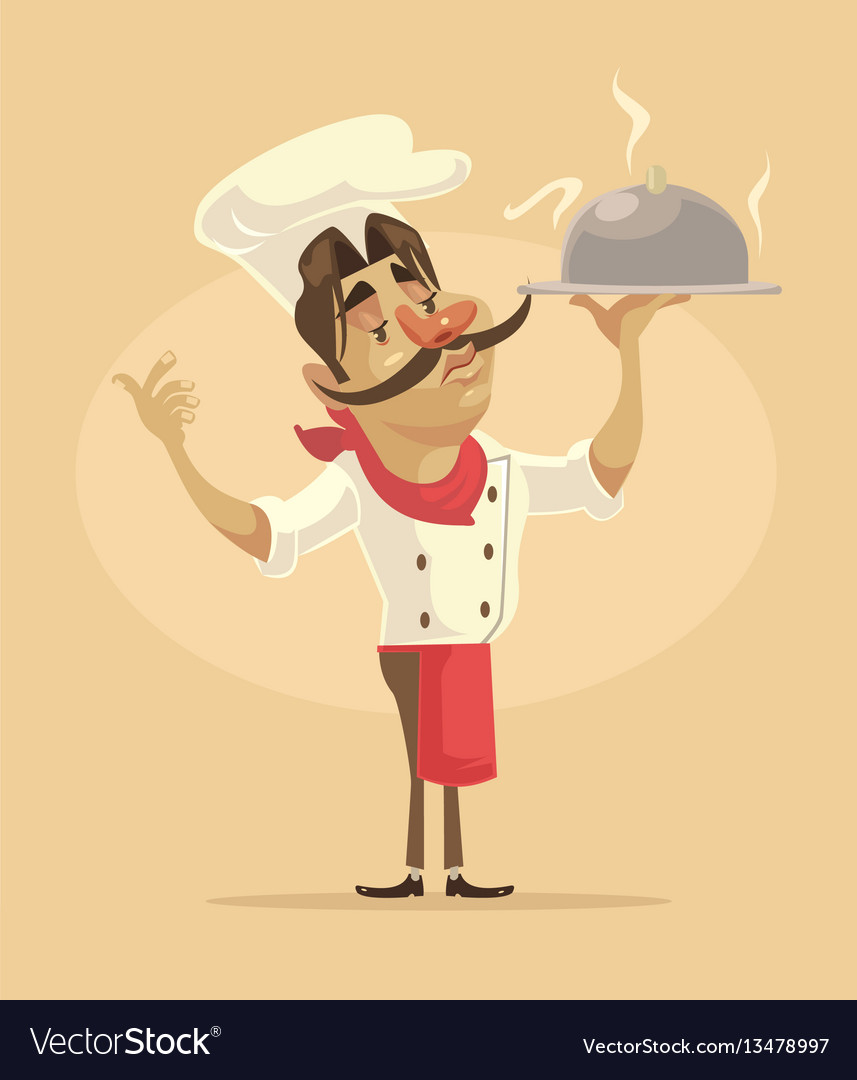 Chef man character hold dish