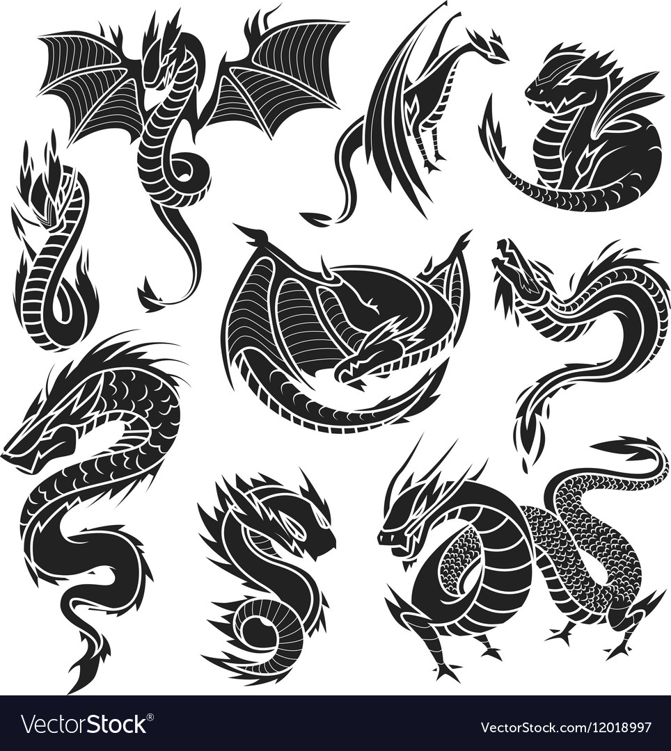 Chinese dragon silhouettes on white background