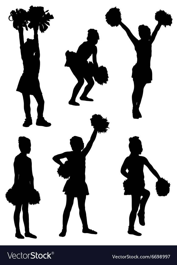 Collection of silhouettes of children of cheerlead