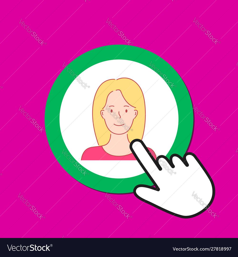 Female avatar icon personal profile concept hand