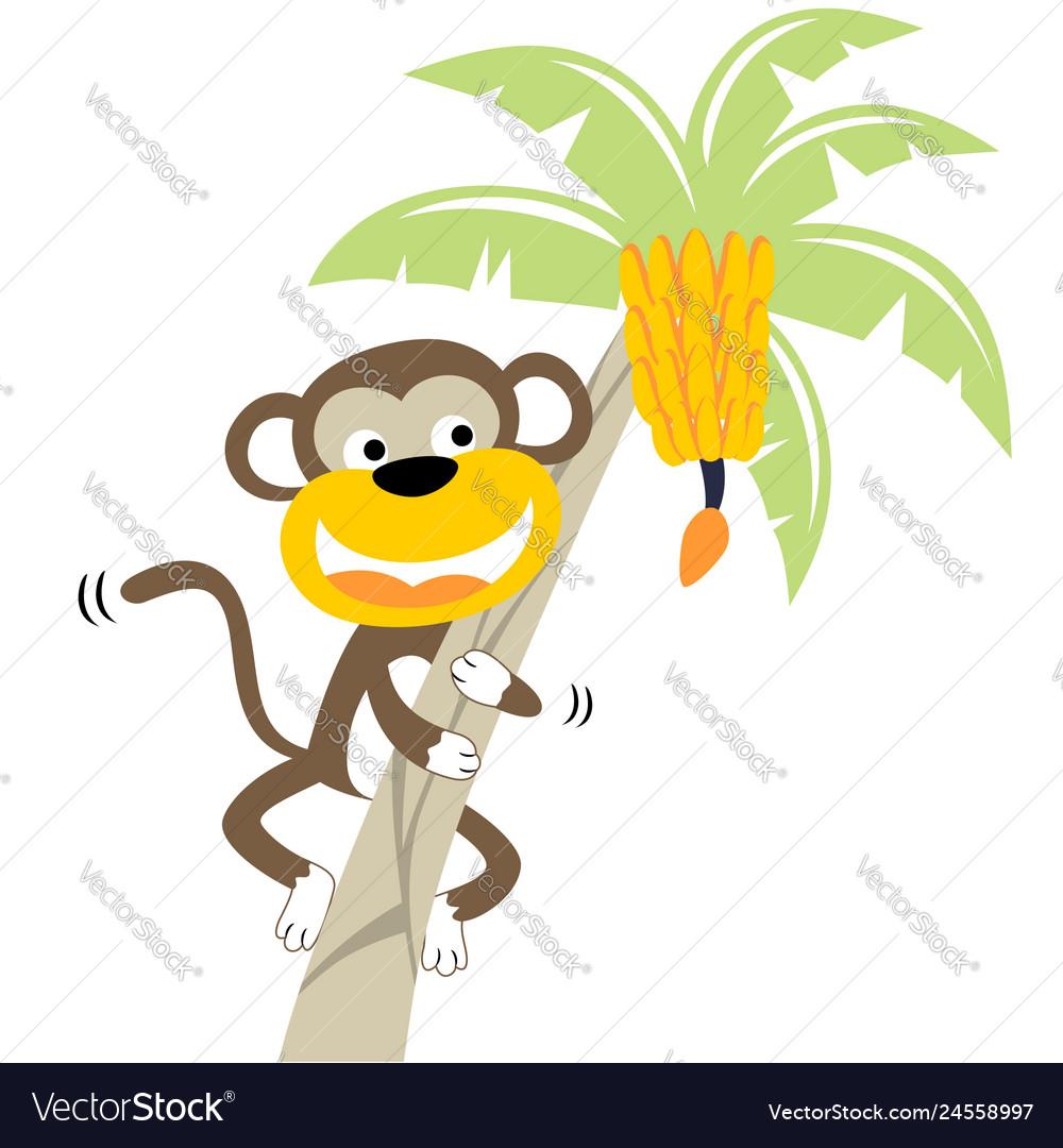 Monkey Climbing Banana Tree Vector Cartoon Vector Image University students painted cartoon figures on holes. vectorstock