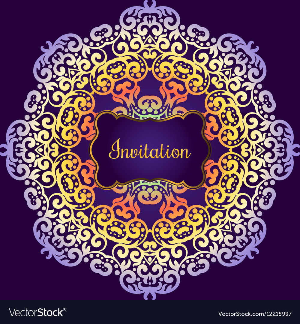 Wedding invitation delicate swirl mandala pattern vector image stopboris Image collections