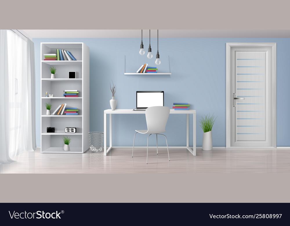 Work desk in home interior realistic