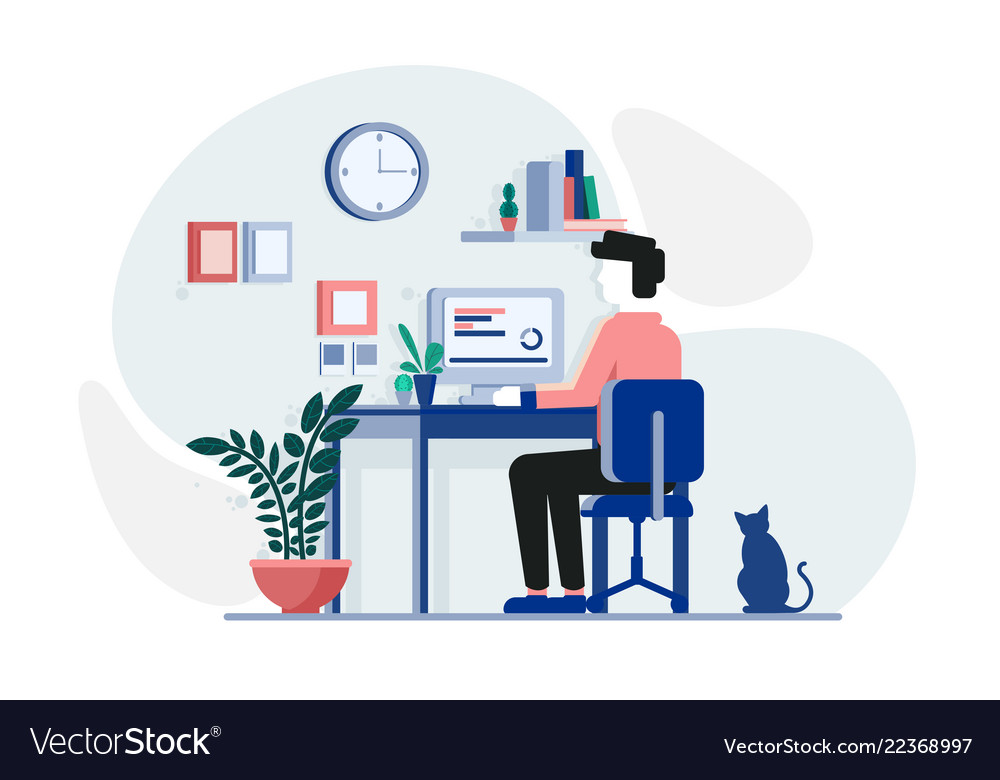 Young guy working at the computer