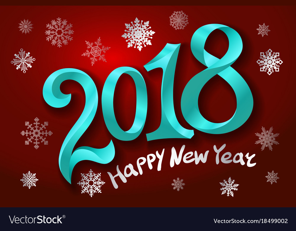 2018 happy new year design element for vector image