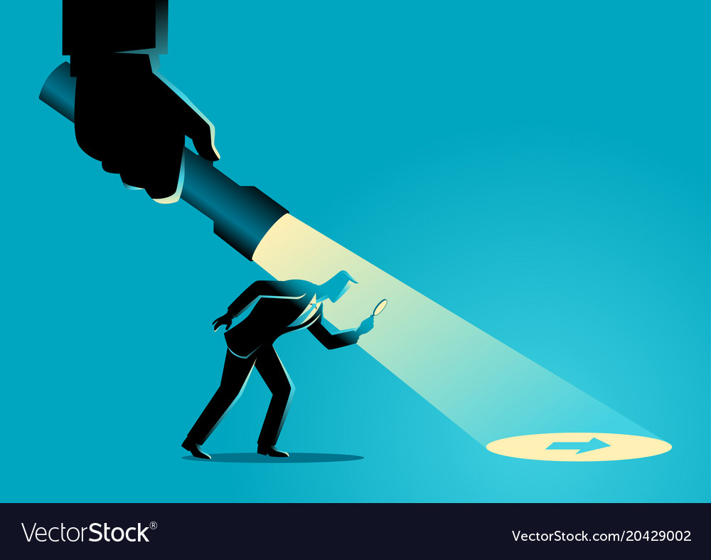 Businessman being guided by a hand holding a vector image