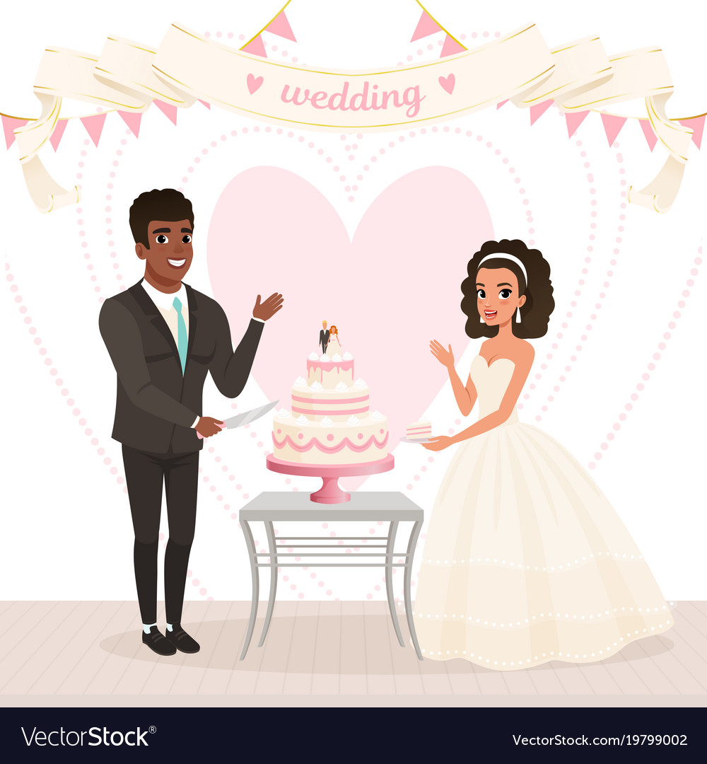 Cartoon caucasian bride and afro-american groom