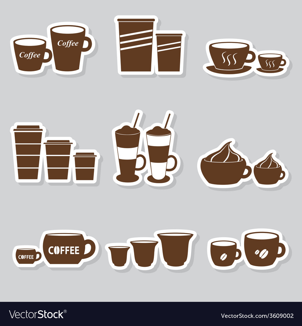 Coffee Cupugs Sizes Variations Stickers Set Vector Image
