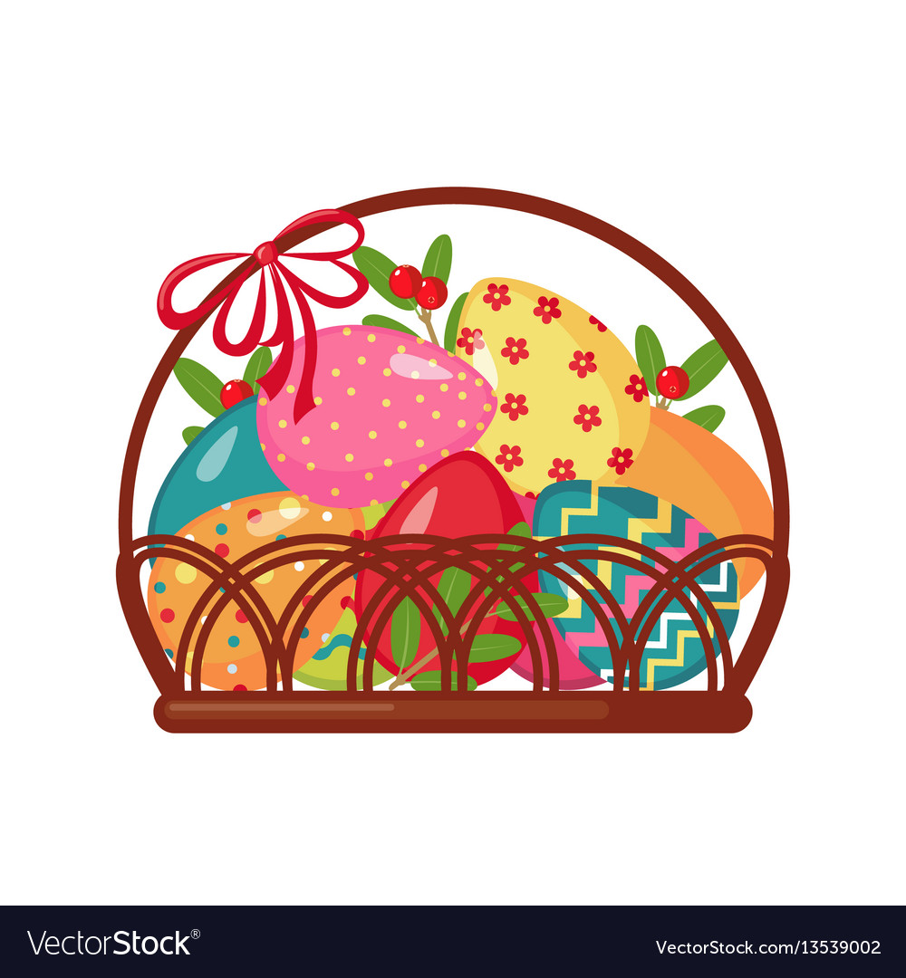 Easter icon with basket full of colored eggs