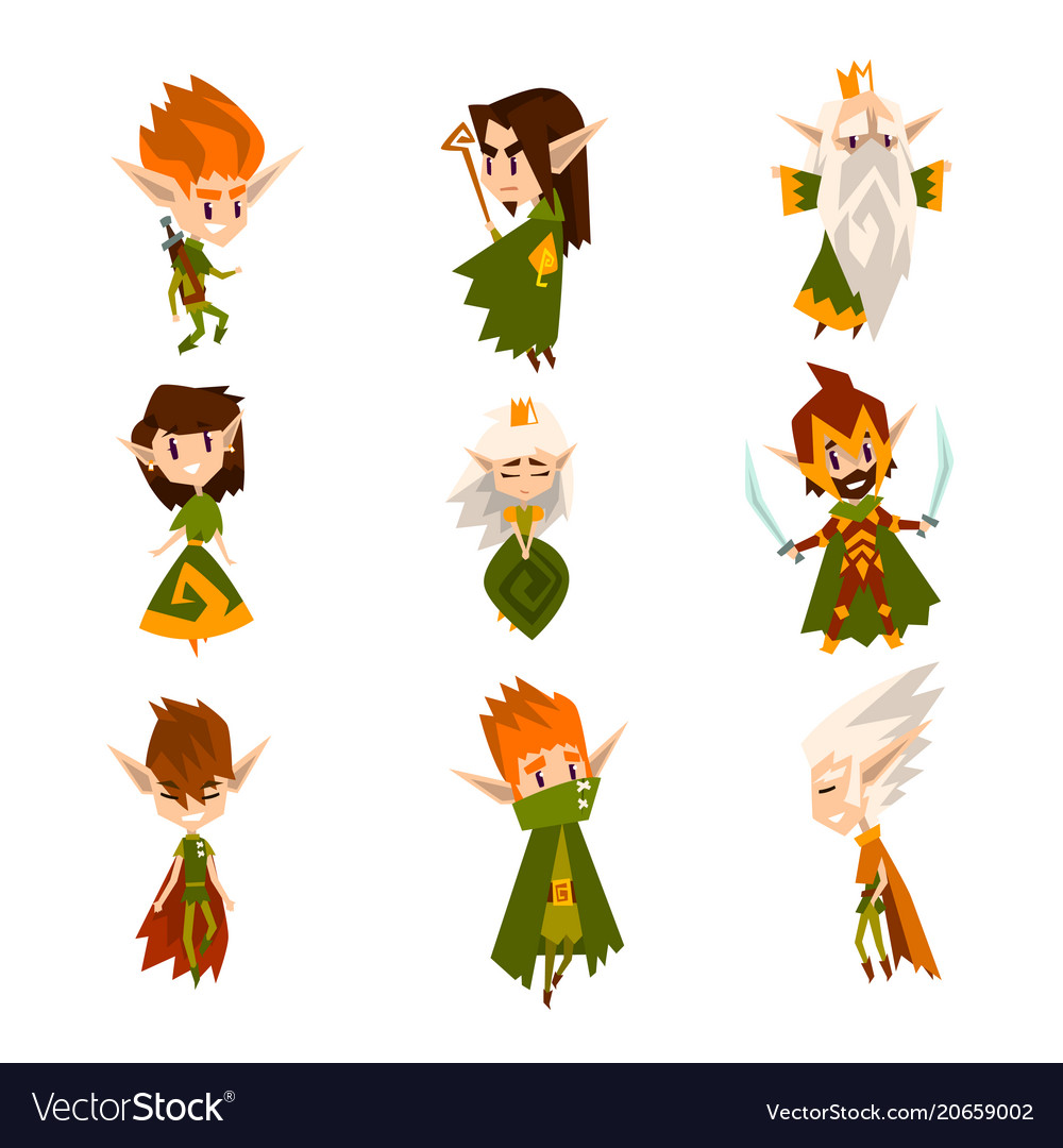 Forest elves set fairytale magic characters in