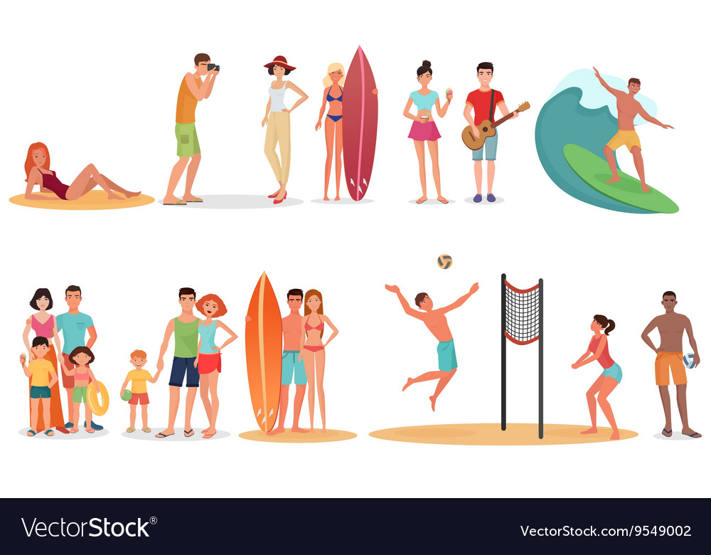 People and couples on vacation beach collection