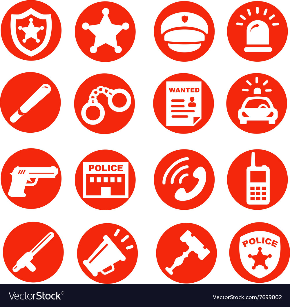 Police icons set red buttons