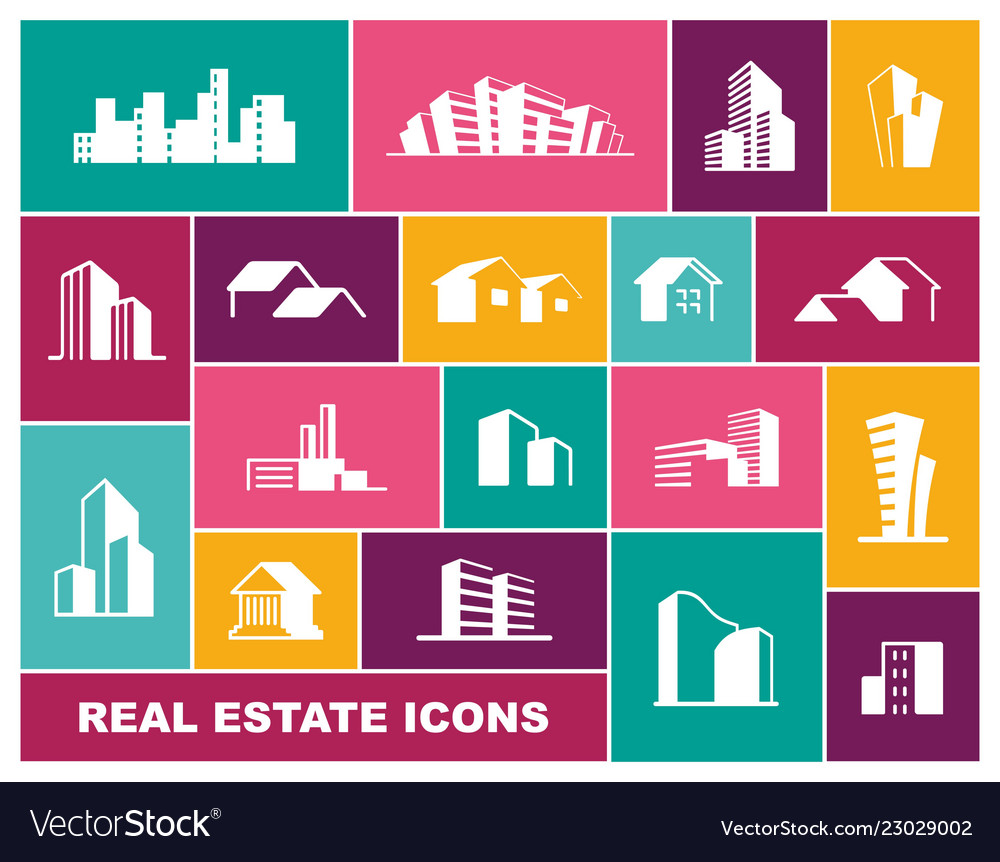 Real estate icon set in flat style