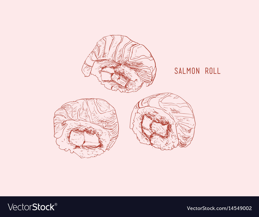 Salmon roll sushi hand drawn vintage sushi set vector image
