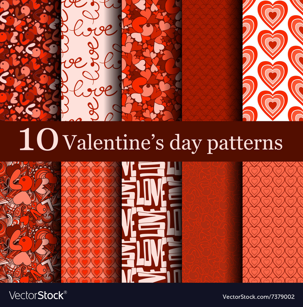 Set of 10 seamless valentine day patterns