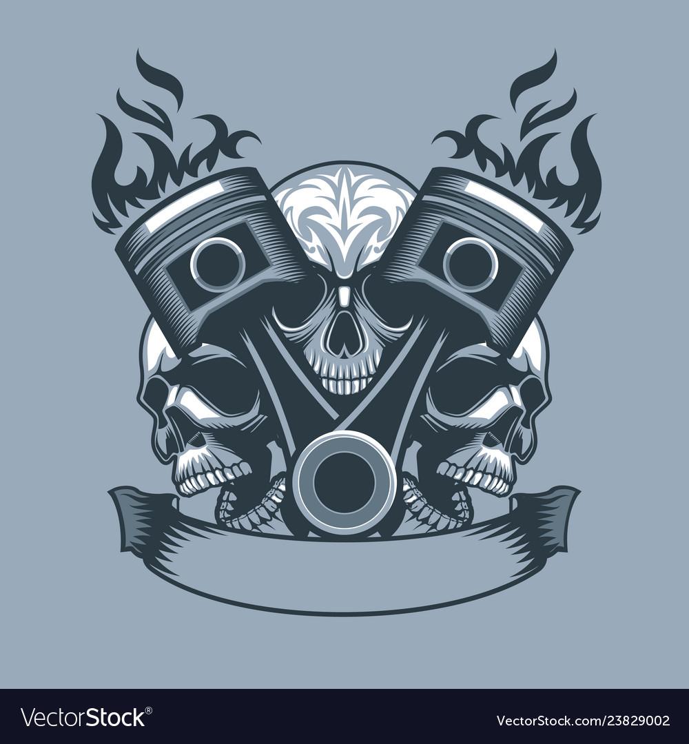 Two burning pistons on three skulls background