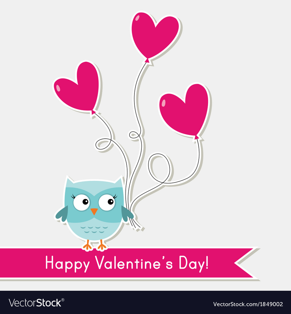 Valentine Card With Cute Owl Royalty Free Vector Image