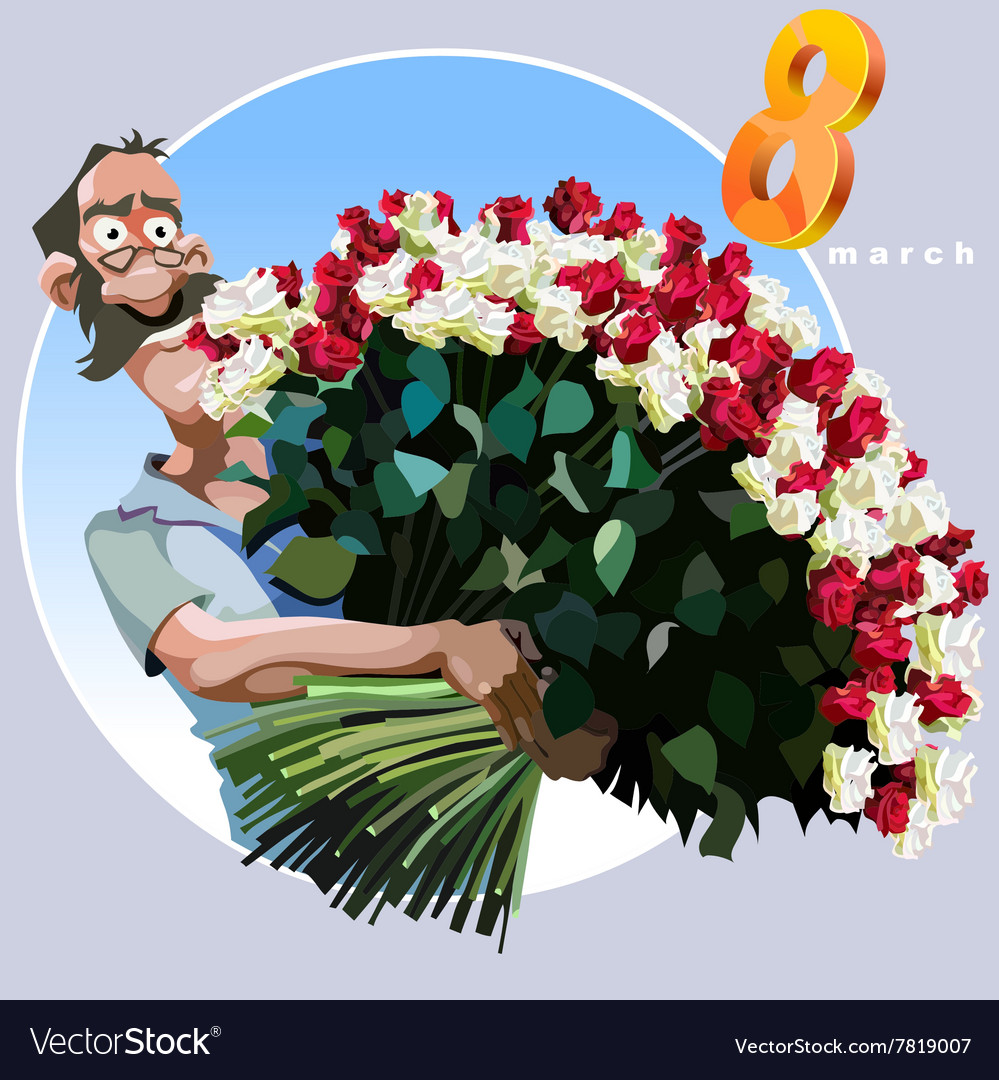 Cartoon Man With A Huge Bouquet Of Flowers Vector Image