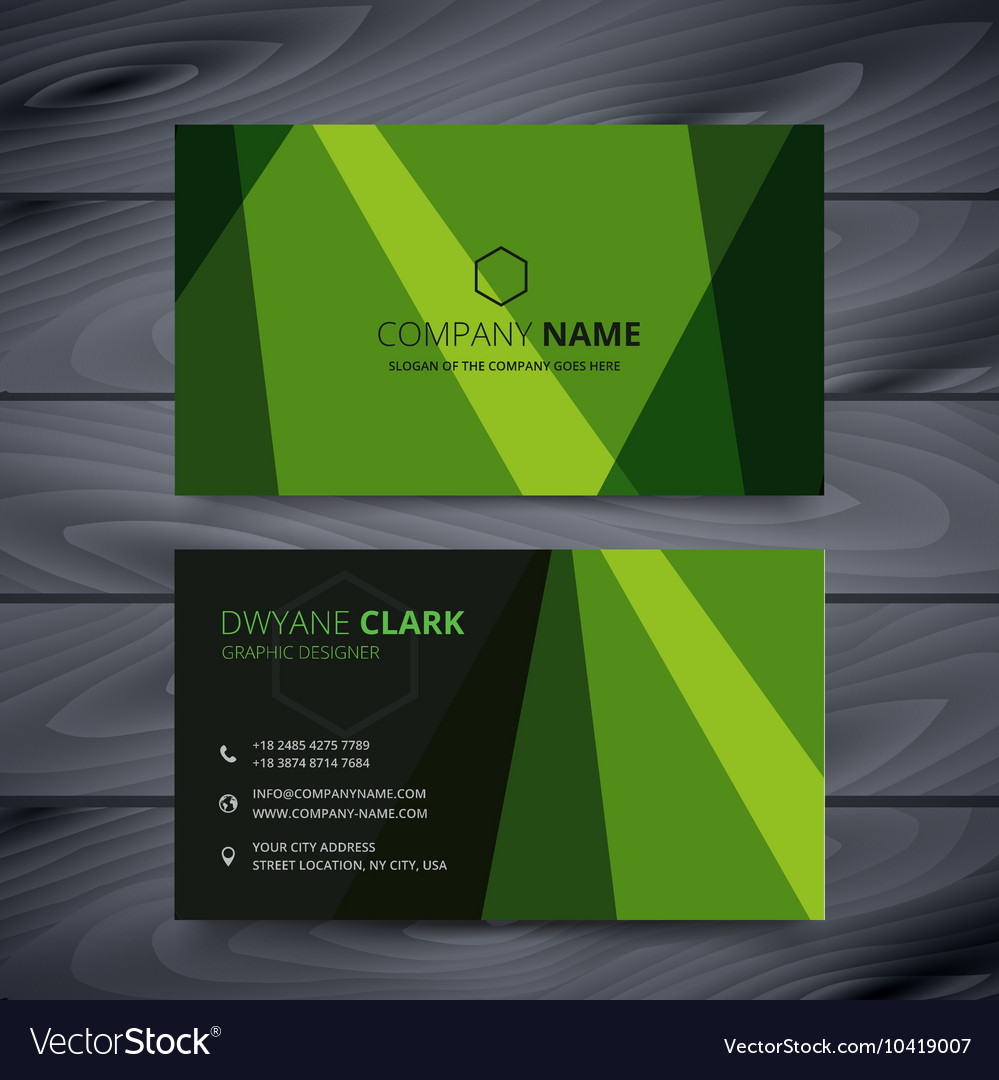 Green Business Card Design Template Royalty Free Vector