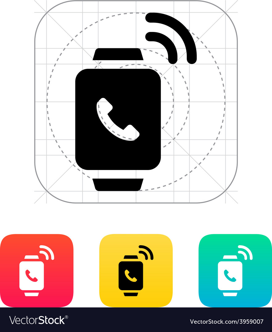 Incoming call on smart watch icon