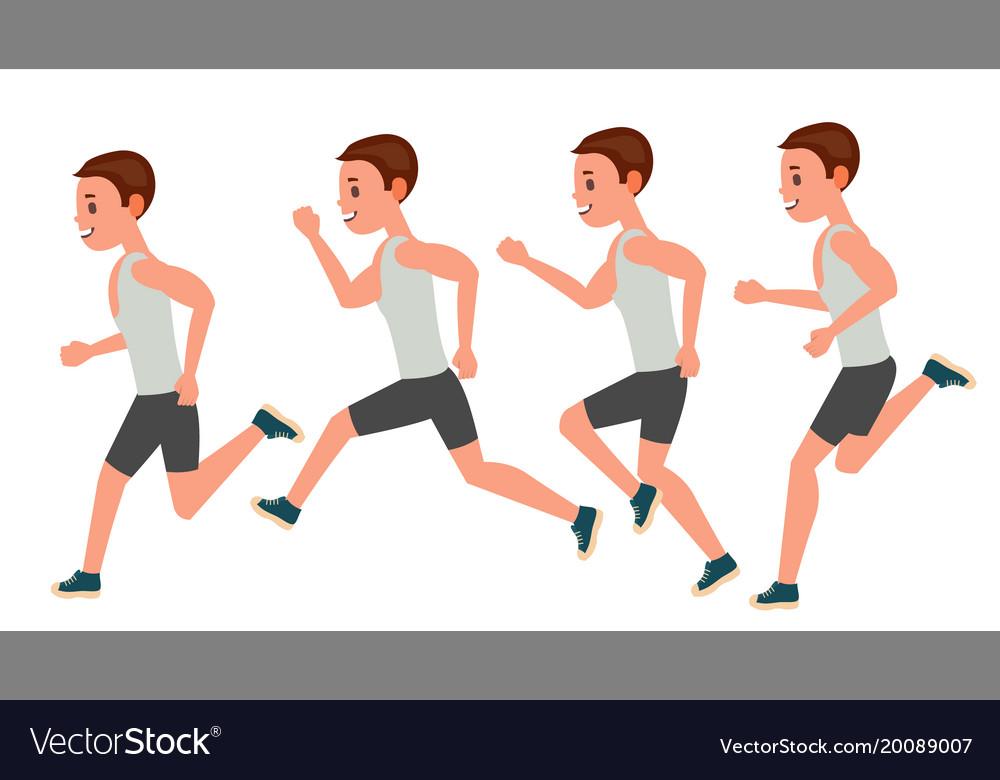 Male running animation frames set sport Royalty Free Vector