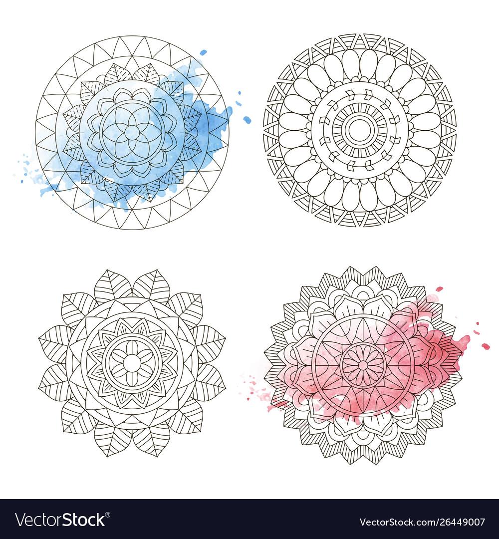 Mandala coloring watercolor floral art round