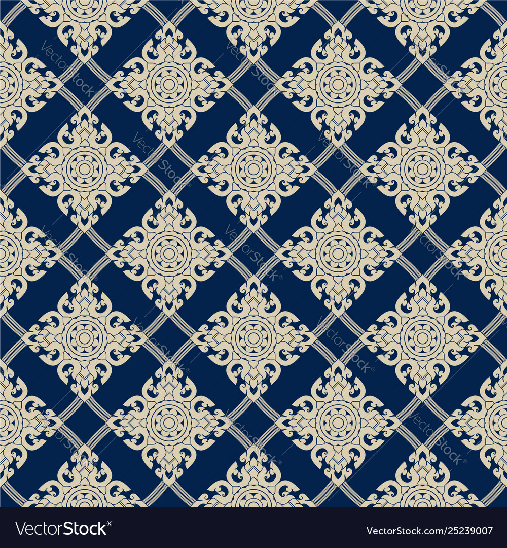 Seamless line thai gold pattern on blue