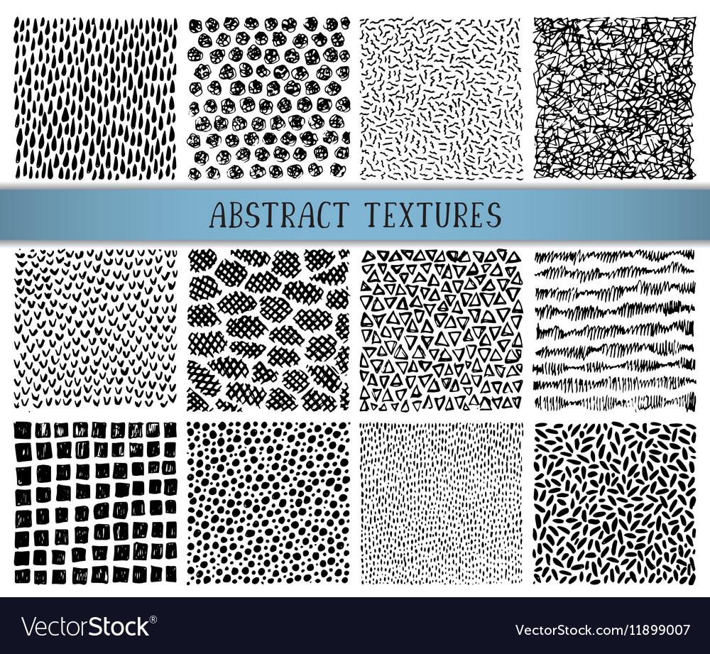 Set of twelve hand drawn ink abstract textures