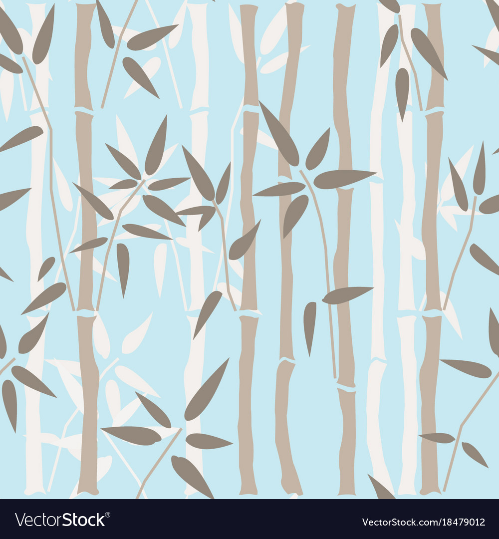 Bamboo seamless pattern on blue background