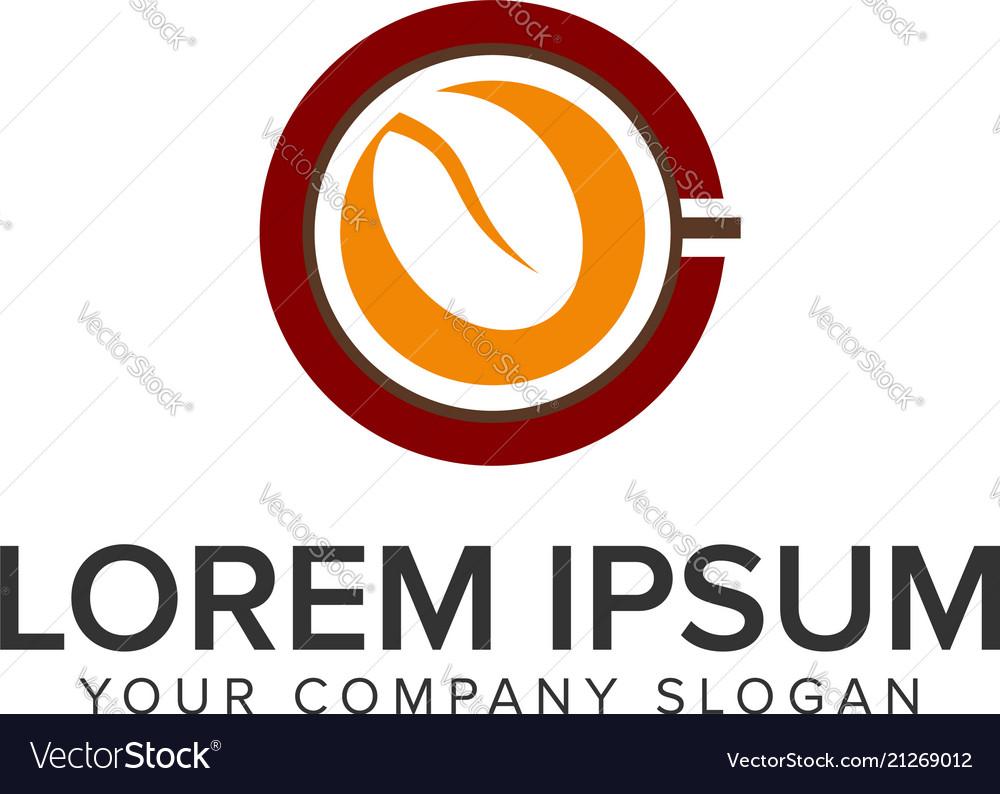 Coffee bean cup logo design concept template