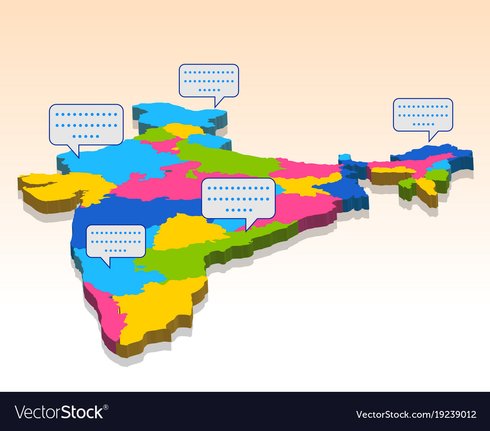 India Map With All States.Detailed 3d Map Of India Asia With All States And Vector Image