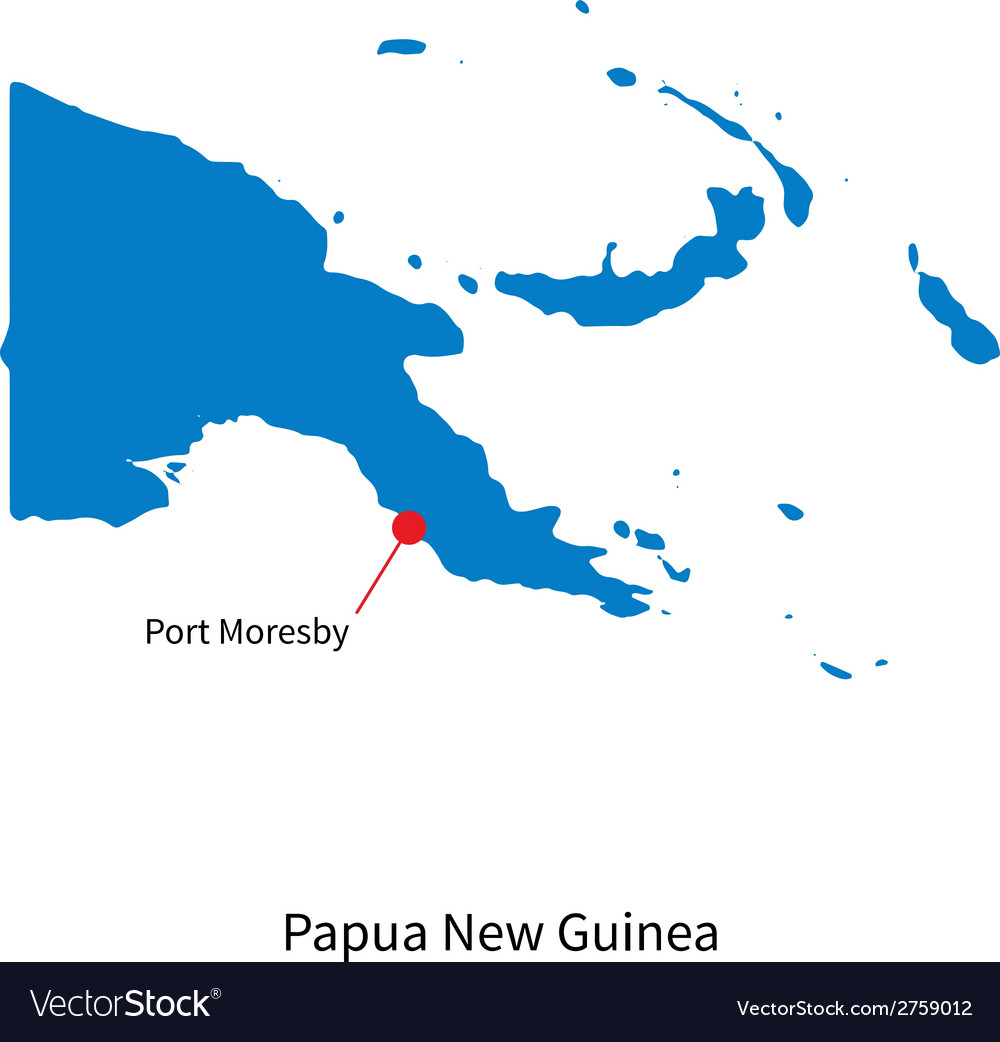 Detailed map of Papua New Guinea and capital city