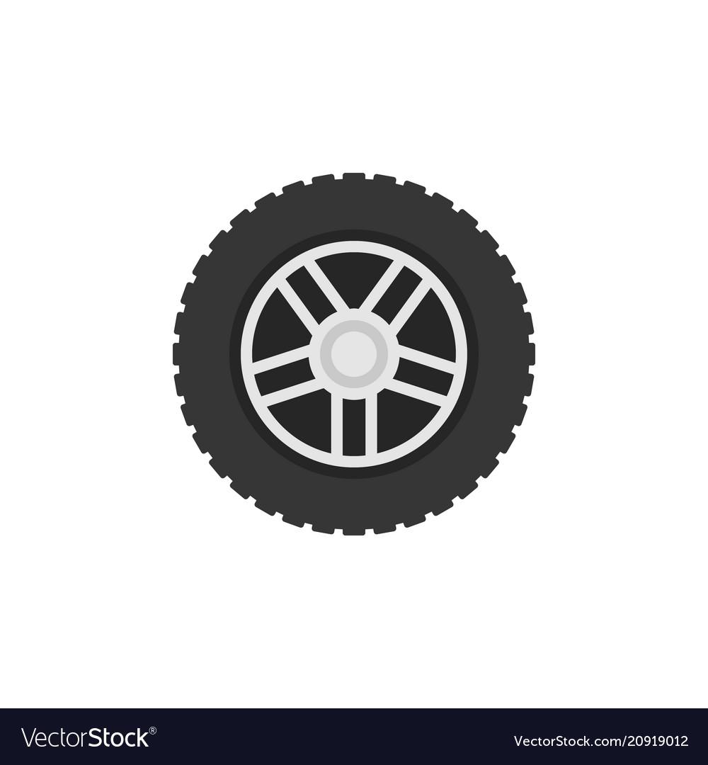 Flat car wheel icon - car service sign