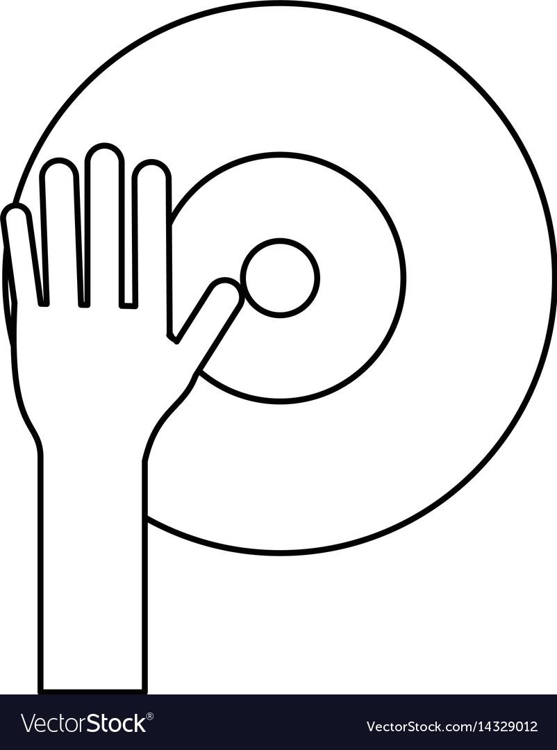 Hand dj playing vinyl thin line
