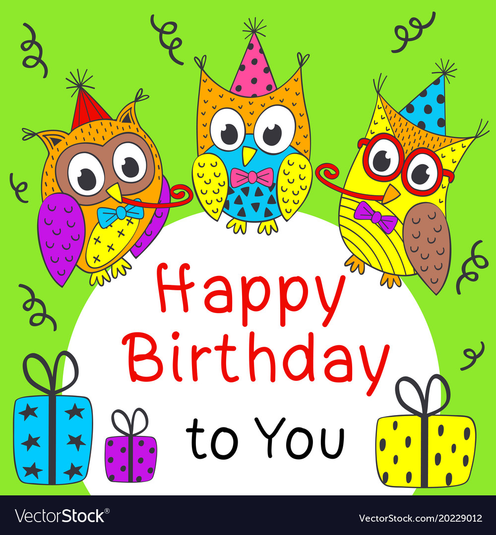Happy birthday card with funny owls