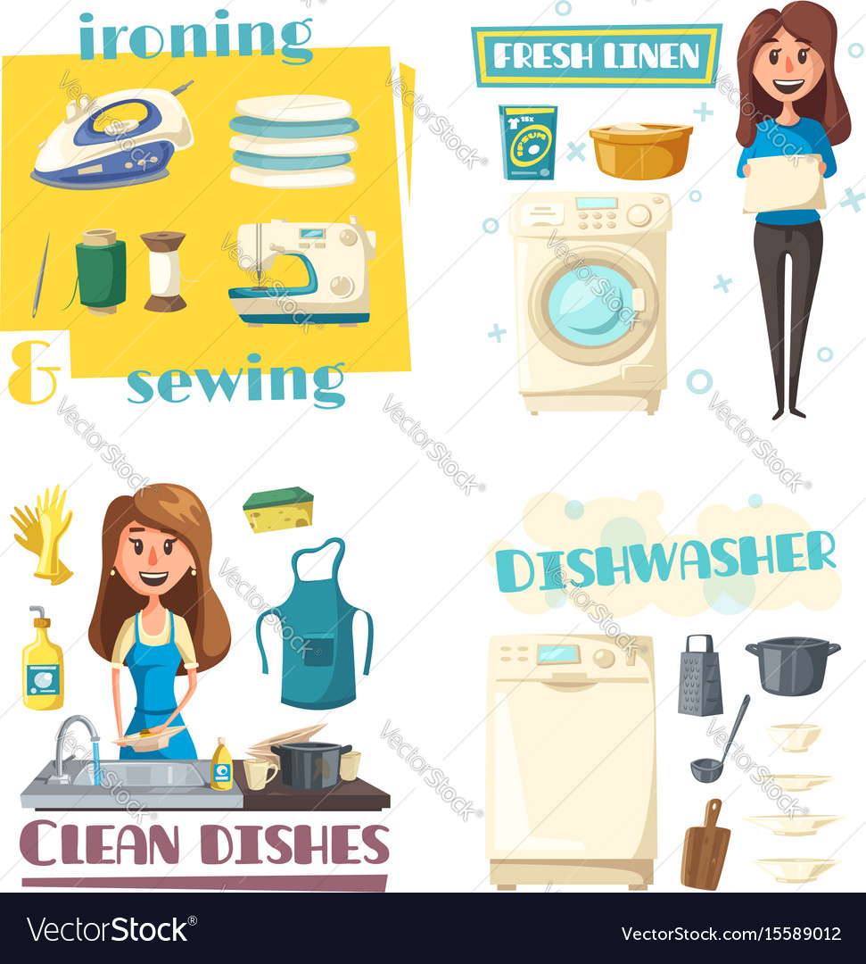 Home cleaning and washing woman ironing