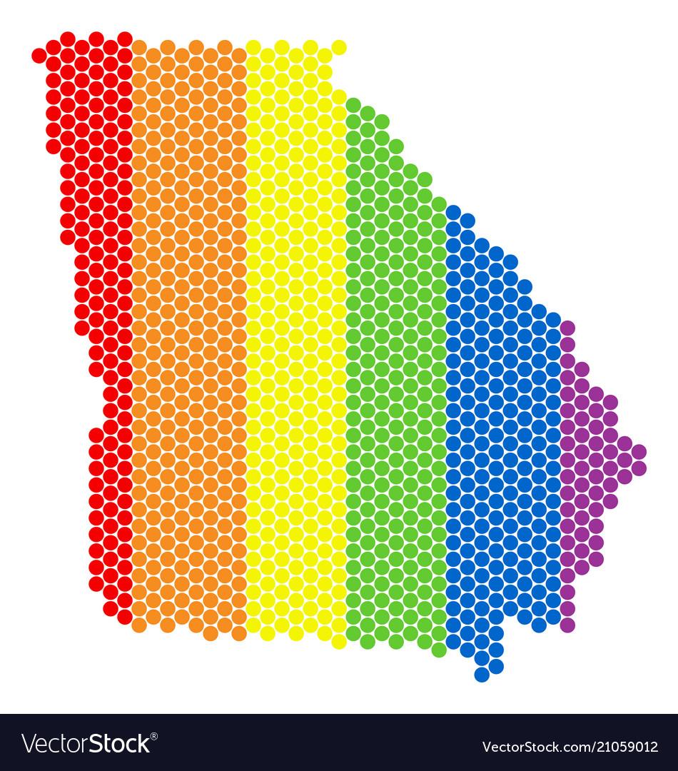 Lgbt Spectrum Pixel American State Georgia Map Vector Image