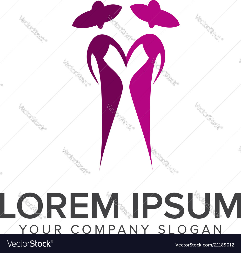 People fashion logo design concept template Vector Image