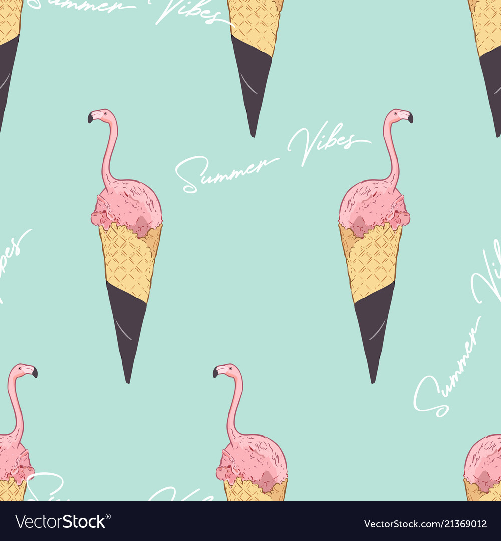 Pink flamingo ice cream cone summer vibes