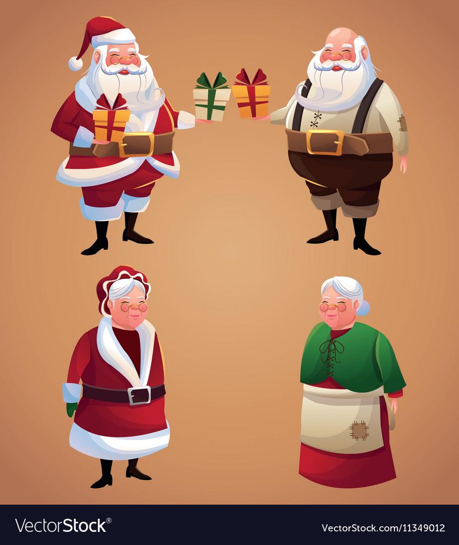 Santa And Wife Cartoon Of Christmas Season Vector Image On Vectorstock