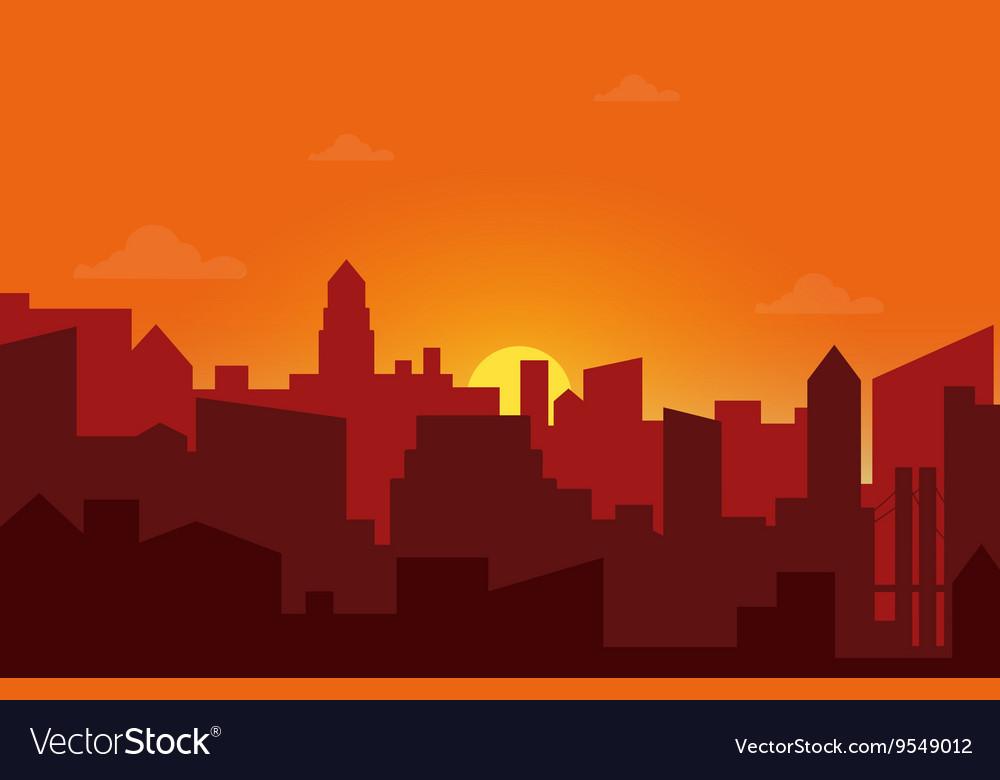 Sunset in city cityscape silhouette sunrise