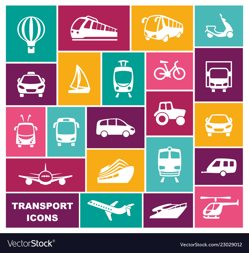 Transport icons in flat style
