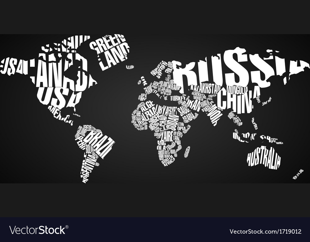 World Map In Typography Royalty Free Vector Image