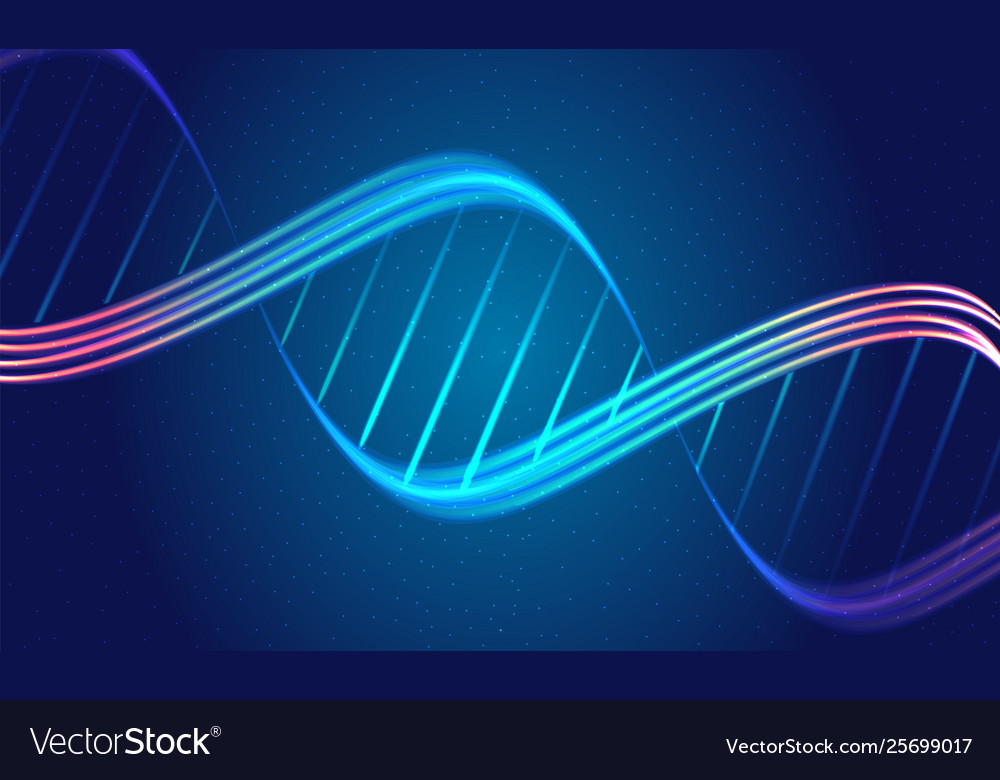 Abstract backgrouns with dna spiral glowing lines