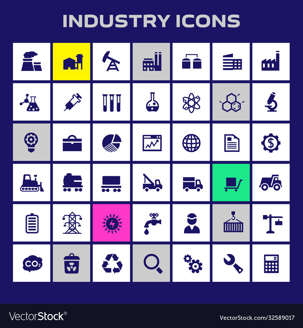 Big industry icon set trendy flat icons